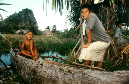 Boys next the Tikopia lagoon some 15 years ago